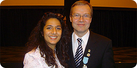 Sabina, Chair of Deaf Parenting UK and Markku Jokinen, WFD President